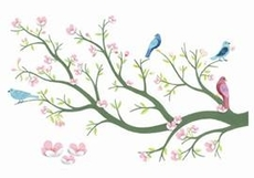 3D Wall-Stickers – Cherry tree in bloom